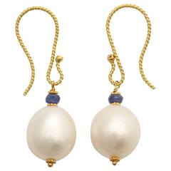Graceful Pearl and Sapphire Earrings