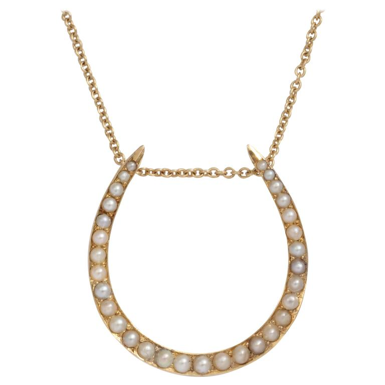 Antique Pearl and Gold Horseshoe Pendant