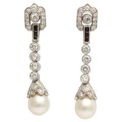 Diamond Pearl Platinum earrings