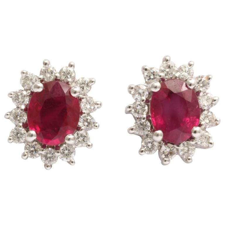 Charming Ruby and Diamond stud Earrings