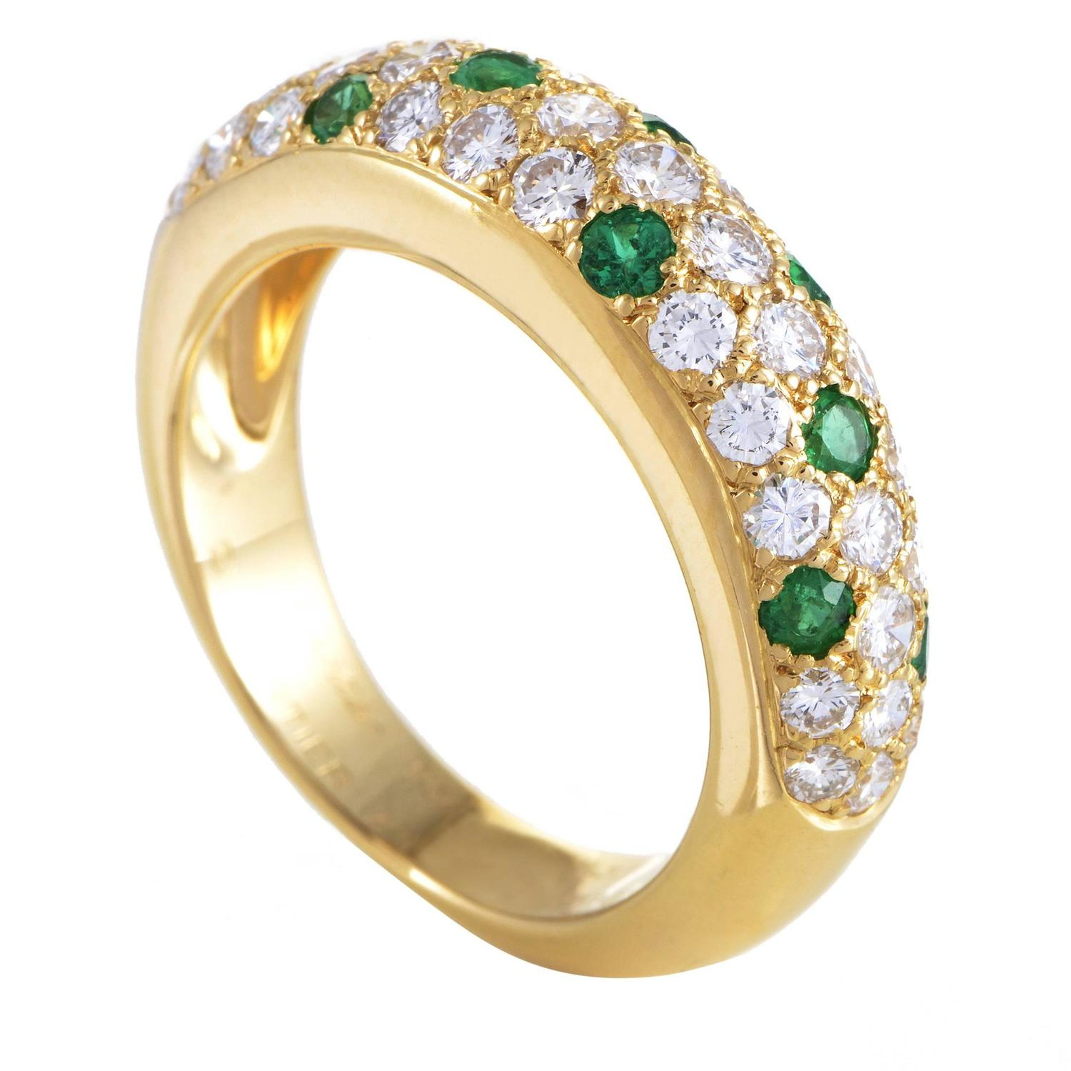 cartier mimi yellow gold diamond and emerald pave band ring at 1stdibs