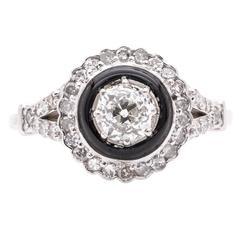 Dramatic 0.56 Carat Onyx and Diamond Engagement Ring