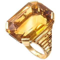 1935 Rene Boivin Citrine Gold cocktail ring
