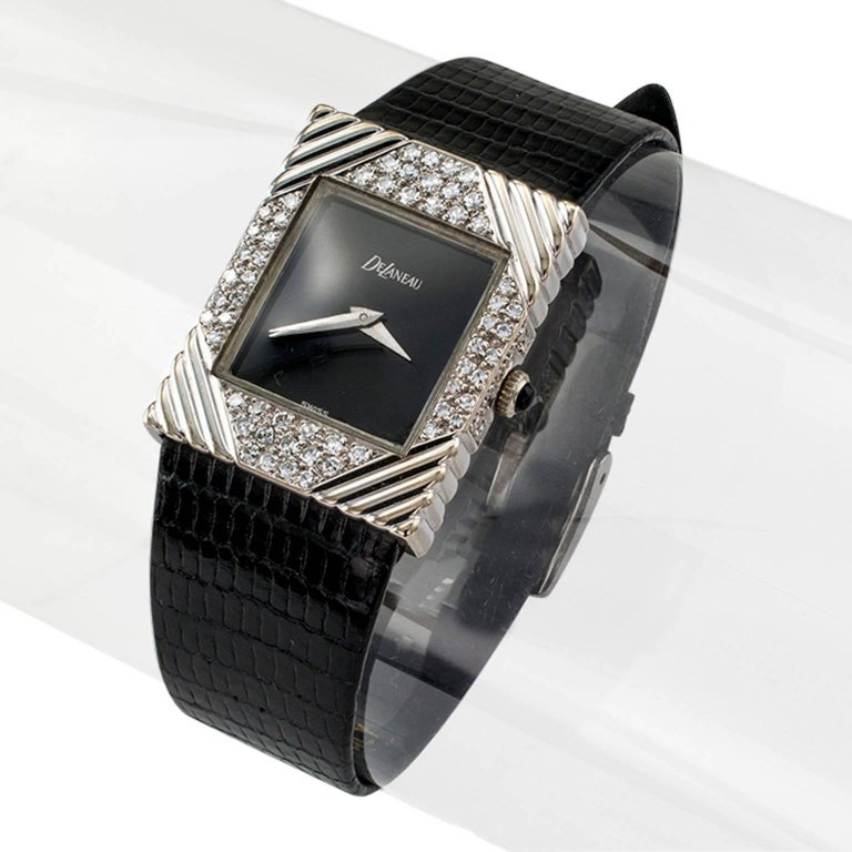 Women's or Men's DeLaneau white gold Diamond Tuxedo manual Wristwatch, circa 1970 For Sale