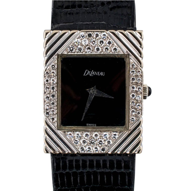 DeLaneau white gold Diamond Tuxedo manual Wristwatch, circa 1970 In Excellent Condition For Sale In Los Angeles, CA