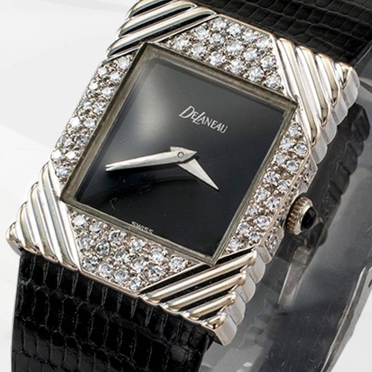 Modernist DeLaneau white gold Diamond Tuxedo manual Wristwatch, circa 1970 For Sale