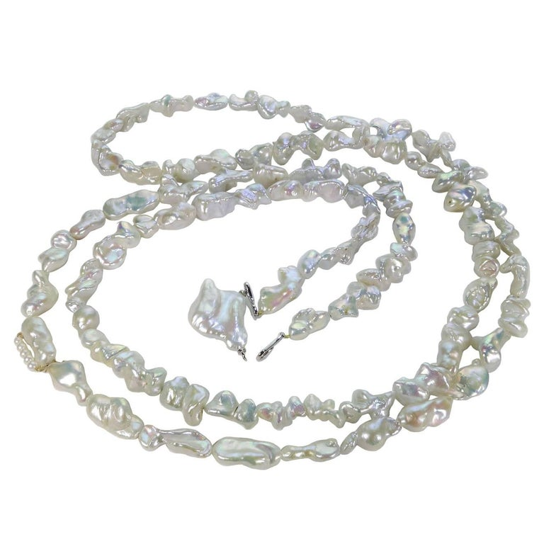 6a0d51ad5dcb3 62 Inch Iridescent White Baroque Pearls Necklace