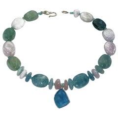 Aquamarine Pendant Bezel Set in Sterling Silver on Beryl Necklace