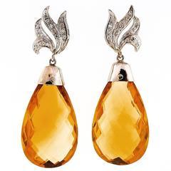 55.00 Carat Yellow Citrine Briolette Diamond White Gold Dangle Earrings