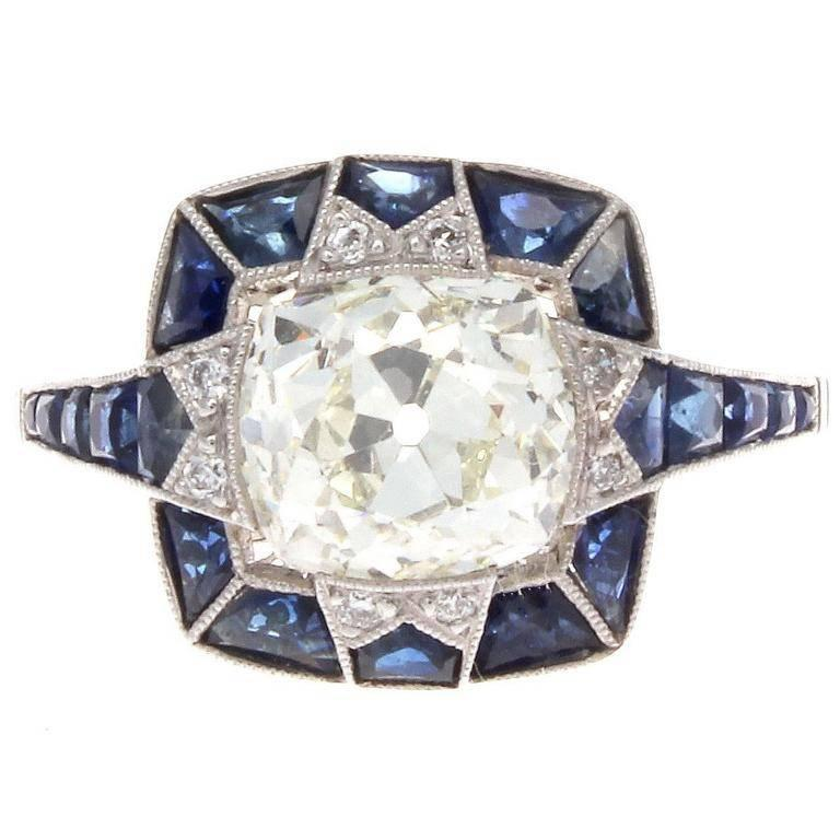 sapphire platinum engagement ring for sale at 1stdibs