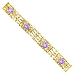Art Nouveau Amethyst and Gold Bracelet