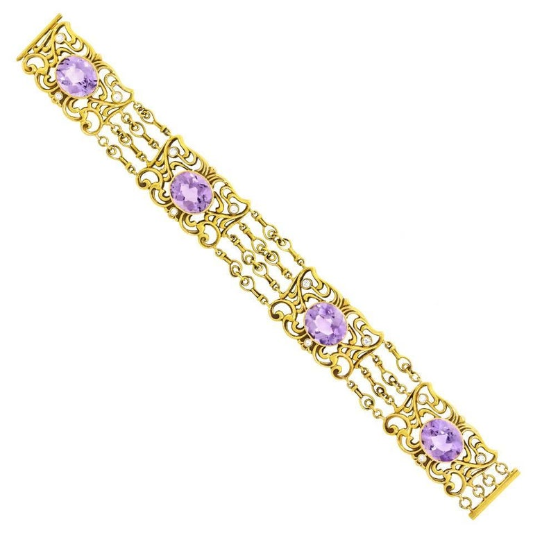 Art Nouveau Amethyst and Gold Bracelet