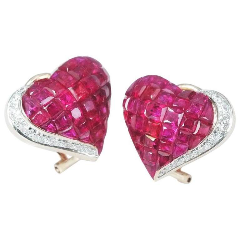 Ruby Diamond Gold Heart Stud Earrings 1