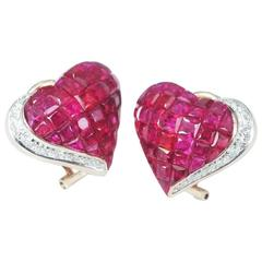 Ruby Diamond Gold Heart Stud Earrings