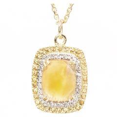 Citrine Yellow Sapphire Diamond Gold Pendant Necklace