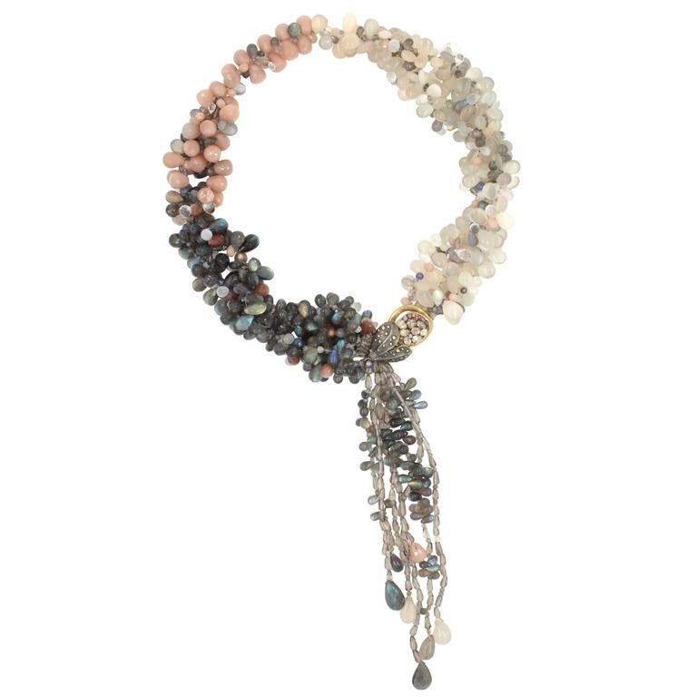 Labradorite Moonstone Sunstone Tanzanite Crystal Quartz Diamond Gold Necklace For Sale