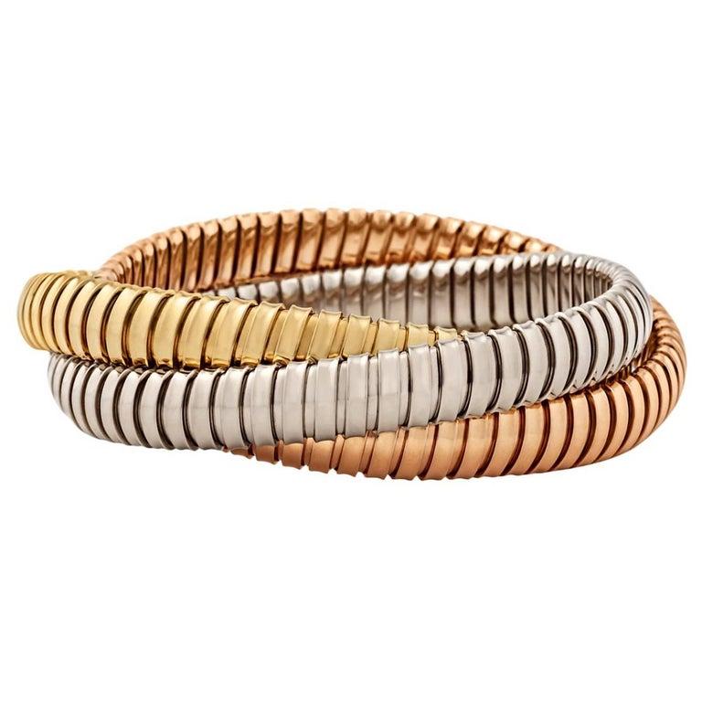 Handmade Tri-Color Gold 9mm Three Strand Tubogas Rolling Bangle Bracelet For Sale