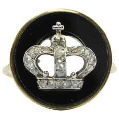 Victorian 18K Rose Cut Diamond and Onyx Royal Crown Signet Conversion Ring