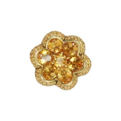 Citrine Yellow Sapphire Gold Flower Ring