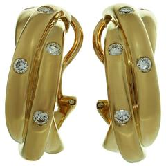 CARTIER Trinity Diamond Yellow Gold Wrap Earrings