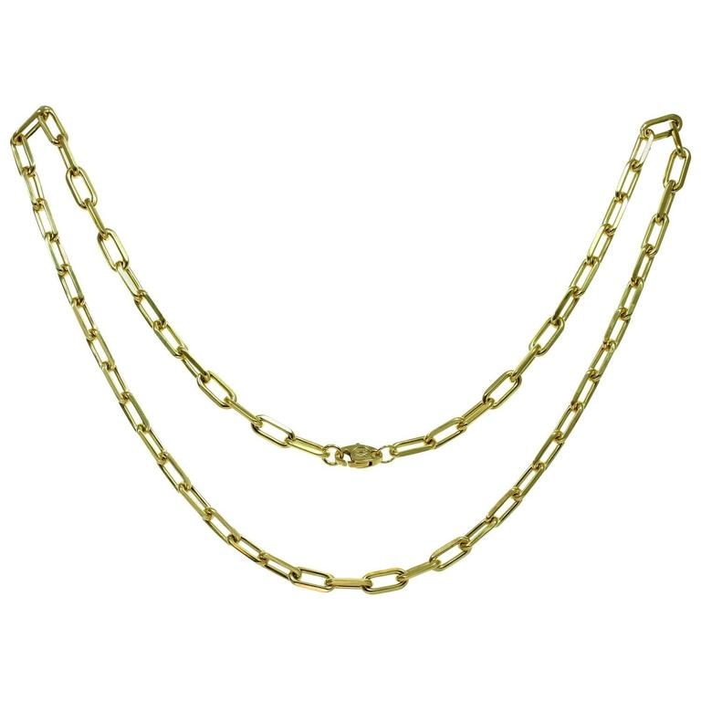 4e8cab91a340 CARTIER Santos Yellow Gold Link Chain Necklace at 1stdibs