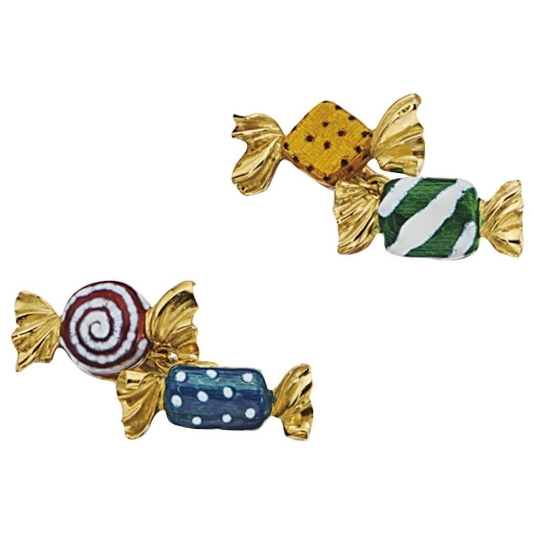 Multicolored Enamel Gold Candy Cufflinks