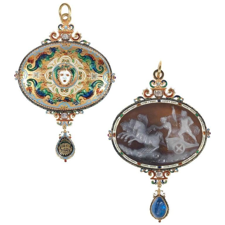 Antique Renaissance Revival Enamel Sapphire Ruby Diamond Cameo Pendant For Sale