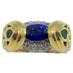 Sapphire Emerald Diamond Cocktail Gold Ring