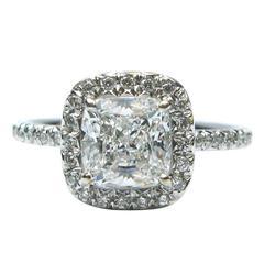 1.51 Carat Cushion Cut Diamond Platinum Ring GIA Certified G VS1