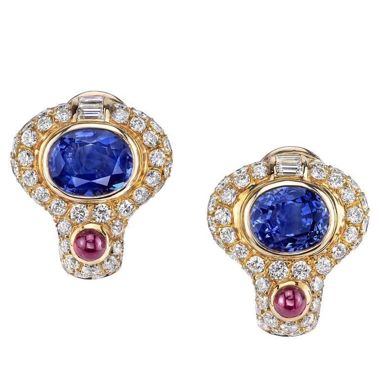 Bvlgari French Diamond Sapphire Ruby Gold Earrings