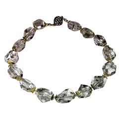 Faceted Quartz Crystal Nugget Necklace