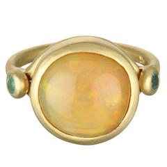 Faye Kim Round Mexican Opal Cabochon and Paraiba Tourmaline Gold Ring