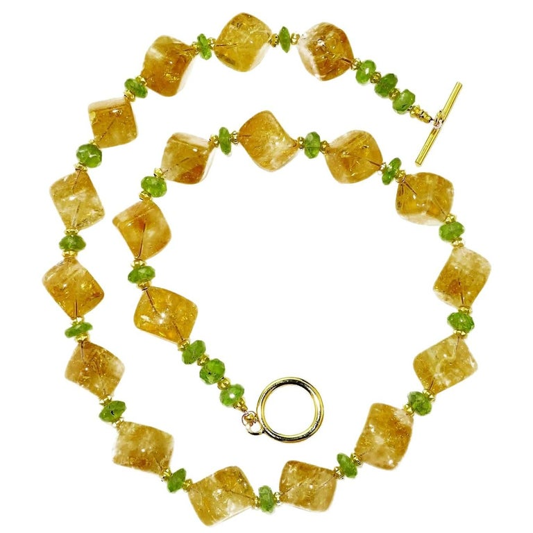 Necklace of Citrine Cubes and Peridot Rondels