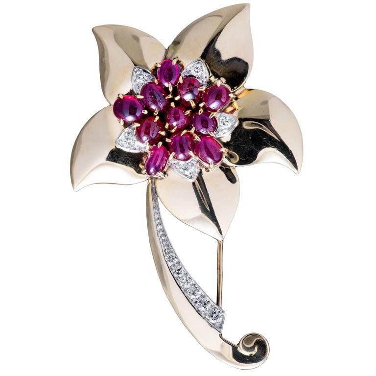 Marcus & Co Retro Ruby Diamond Flower Brooch 1