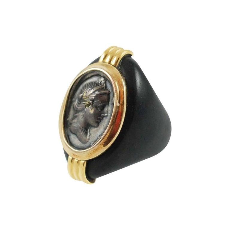 Susan Berman Ebony Silver Gold Medallion Ring