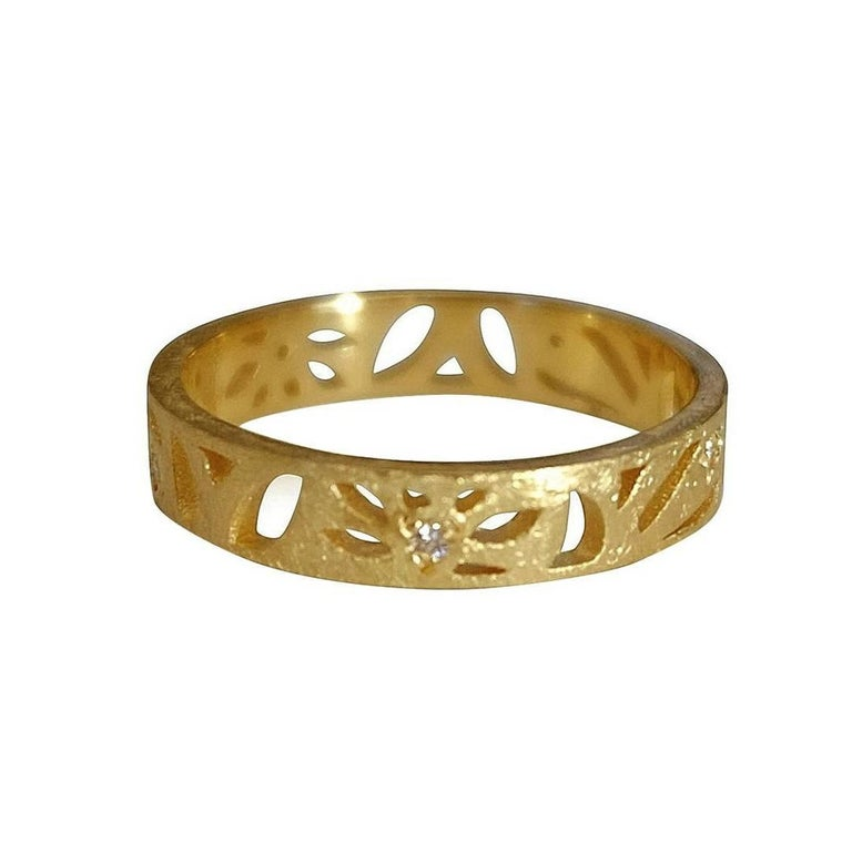 Luca Jouel Diamond Yellow Gold Floral Motif Ring