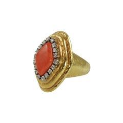 Charles Turi Salmon Coral Diamond Ring