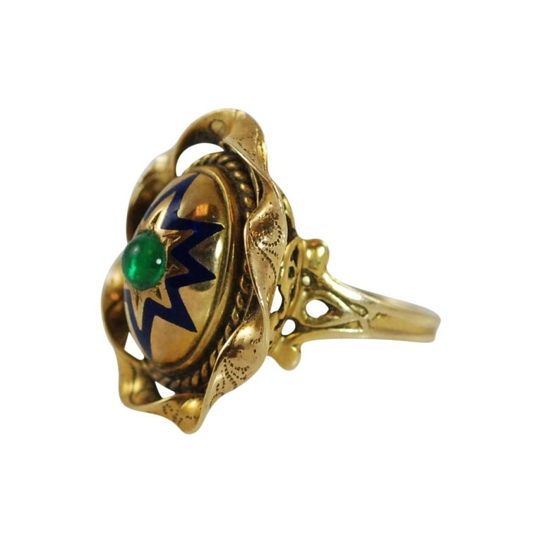 Blue Enamel Cabochon Emerald Yellow Gold Ring