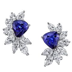 Sapphire Diamond Gold Earrings