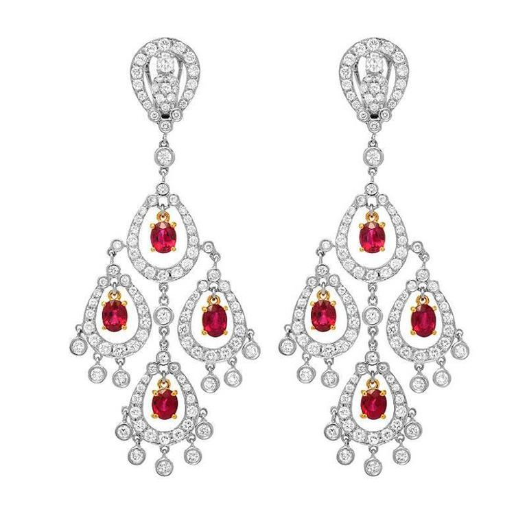 Diamond Ruby Chandelier Gold Earrings