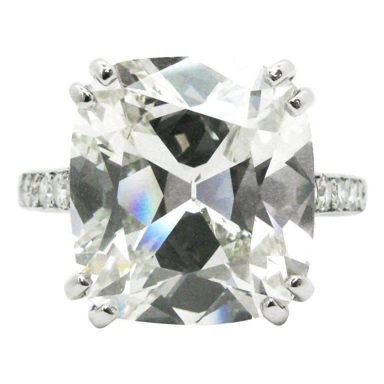 8.52 Carat GIA Cushion Cut Diamond and Platinum Pave Ring