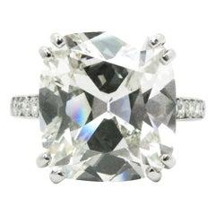 8.52 Carat GIA Antique Cushion Cut Diamond and Platinum Pave Ring
