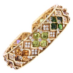 Multicolor Semi, Precious and Diamond Cuff Bracelet