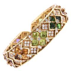 Multicolor Semi, Precious and Diamond Cuff Bracelet