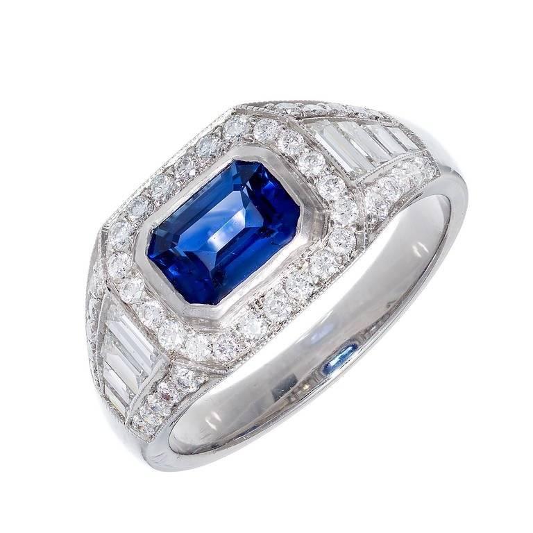 GIA Certified 1.16 Cart Art Deco Sapphire Diamond Platinum Engagement Ring