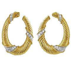 Van Cleef & Arpels Diamond Gold Ear Hoops