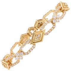 4 Carat Diamond 18 Karat Yellow Gold French Bracelet
