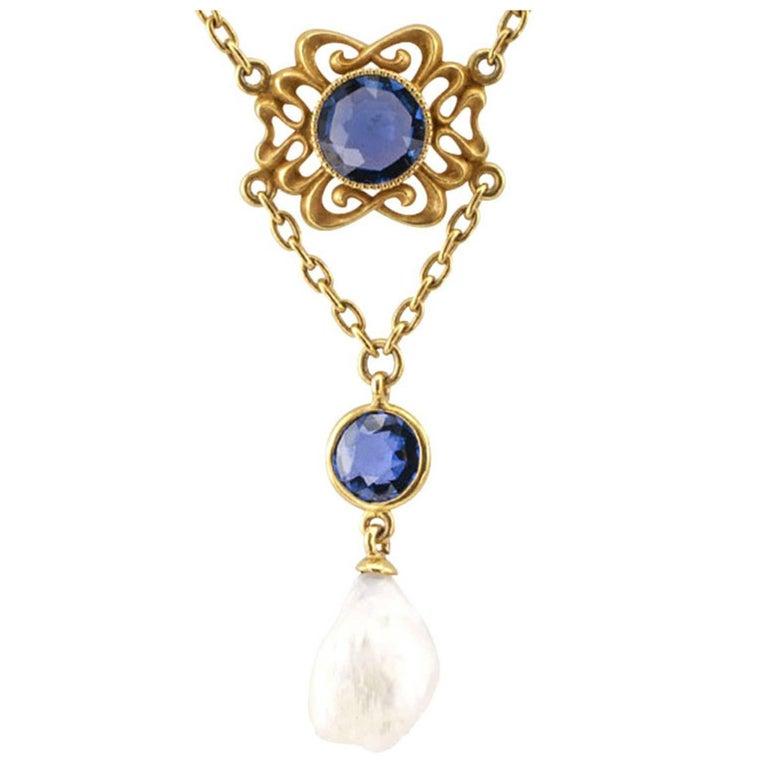 Art Nouveau Sapphire Pearl Necklace For Sale