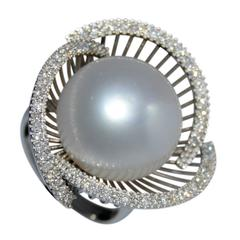 Natural South Sea Pearl Diamond Gold Ring