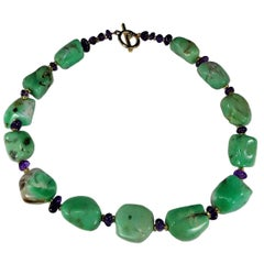 Polished Chrysoprase Nugget and Amethyst Necklace
